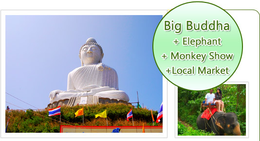 Big Buddha and Elephant and Monkey Show and Local Market